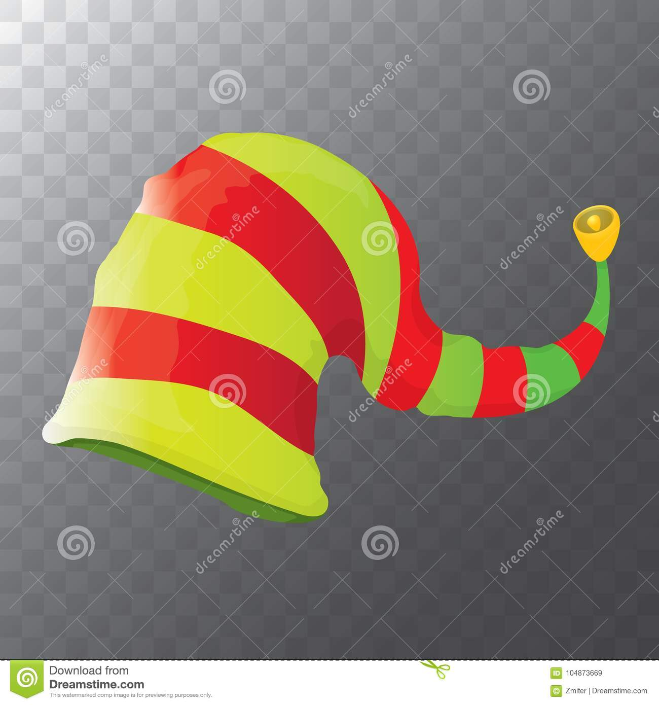 Colorful Christmas Background For Kids.Vector Funky Red And Green Stripped Cartoon Christmas Elf