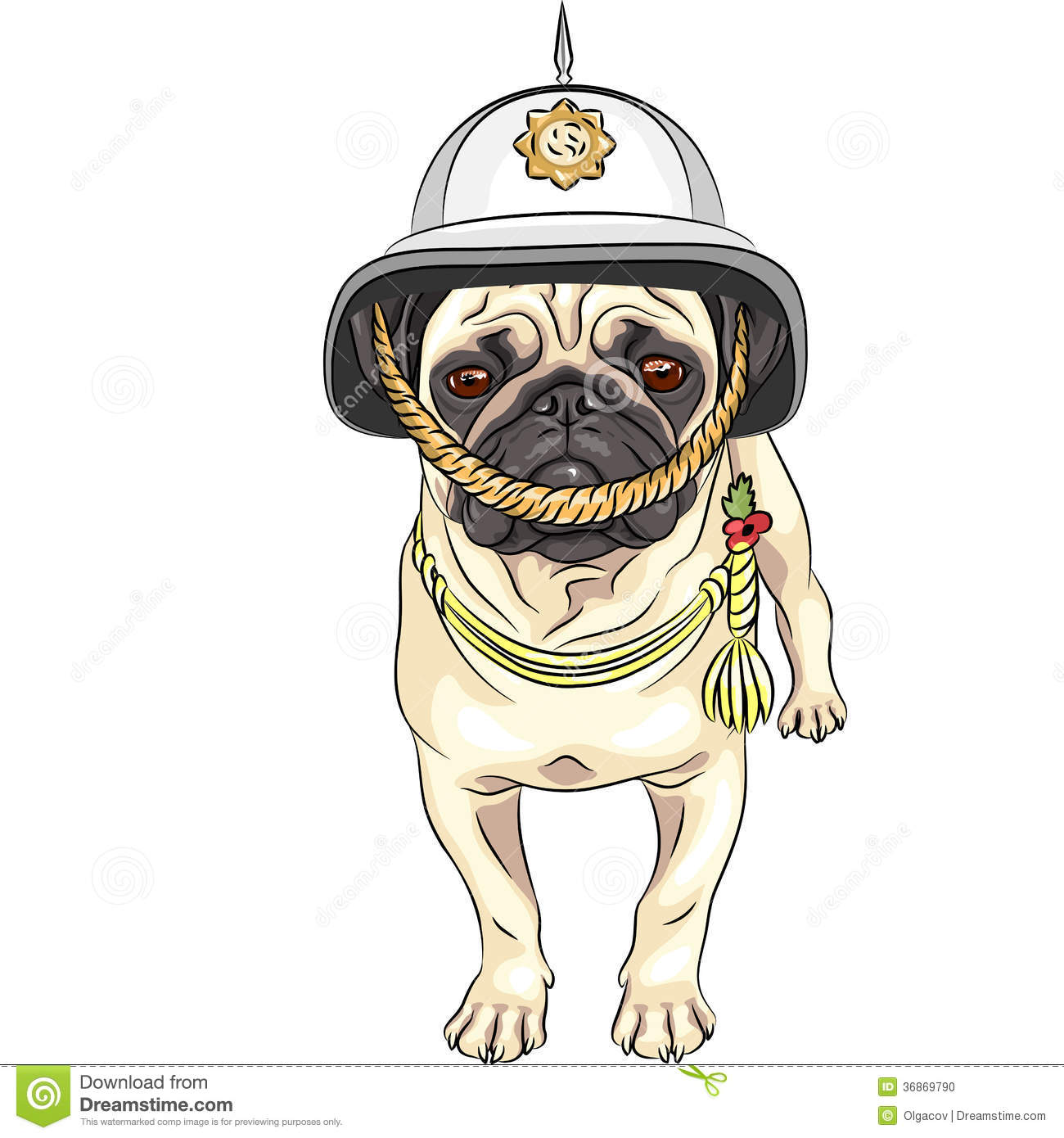 Vector Funny Cartoon Dog Pug In The British Helmet Stock