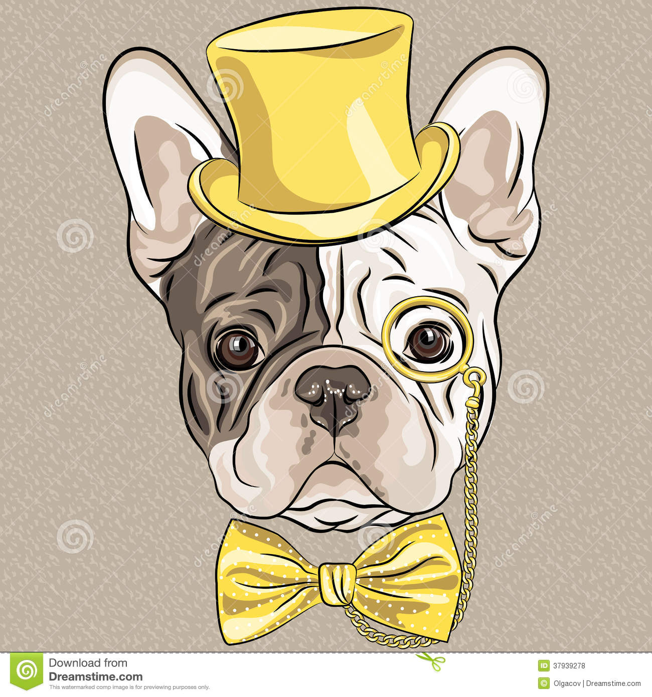 Vector Funny Cartoon Hipster French Bulldog Dog Royalty Free Stock ...