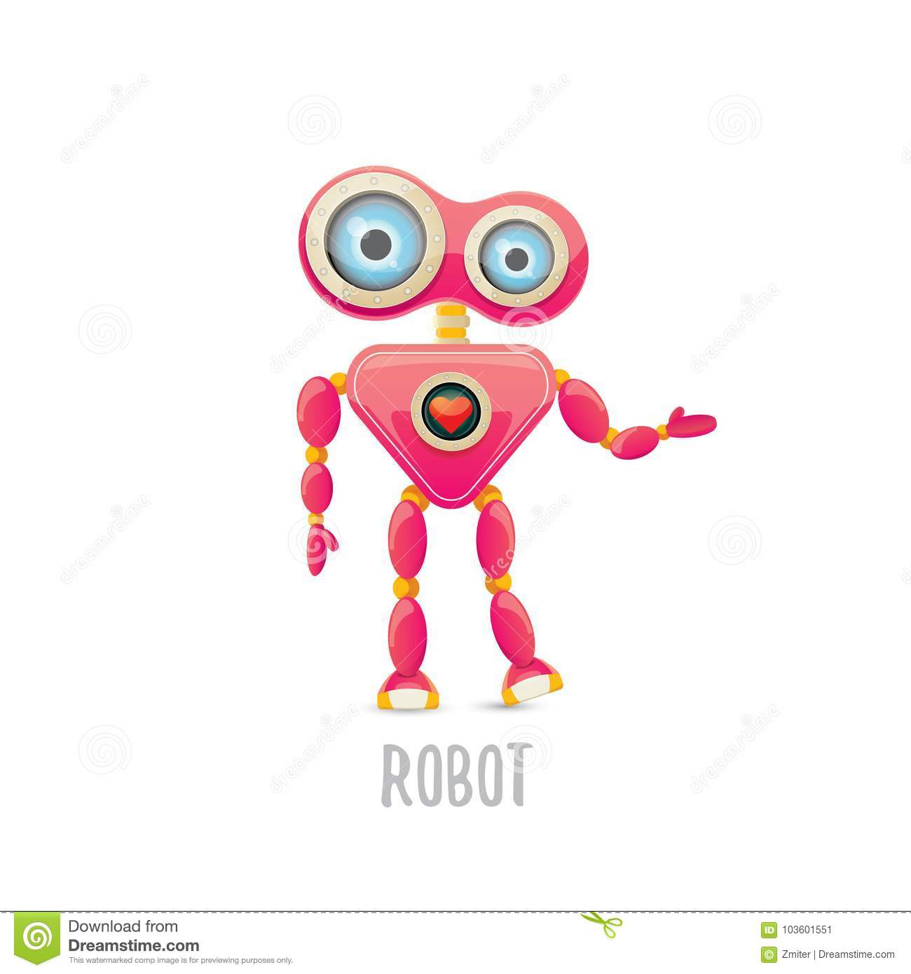 Vector Funny Cartoon Pink Friendly Robot Character Isolated On White