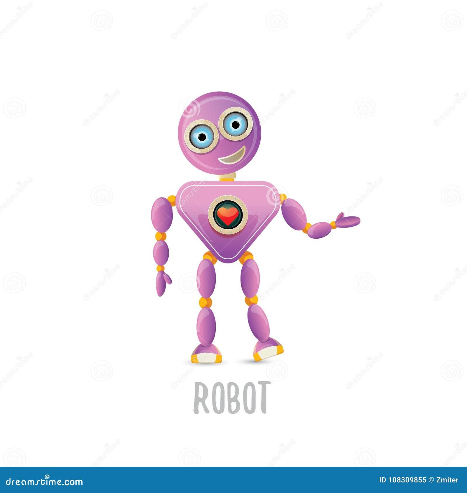 Vector funny cartoon purple friendly robot character isolated on download vector funny cartoon purple friendly robot character isolated on white background kids 3d robot maxwellsz