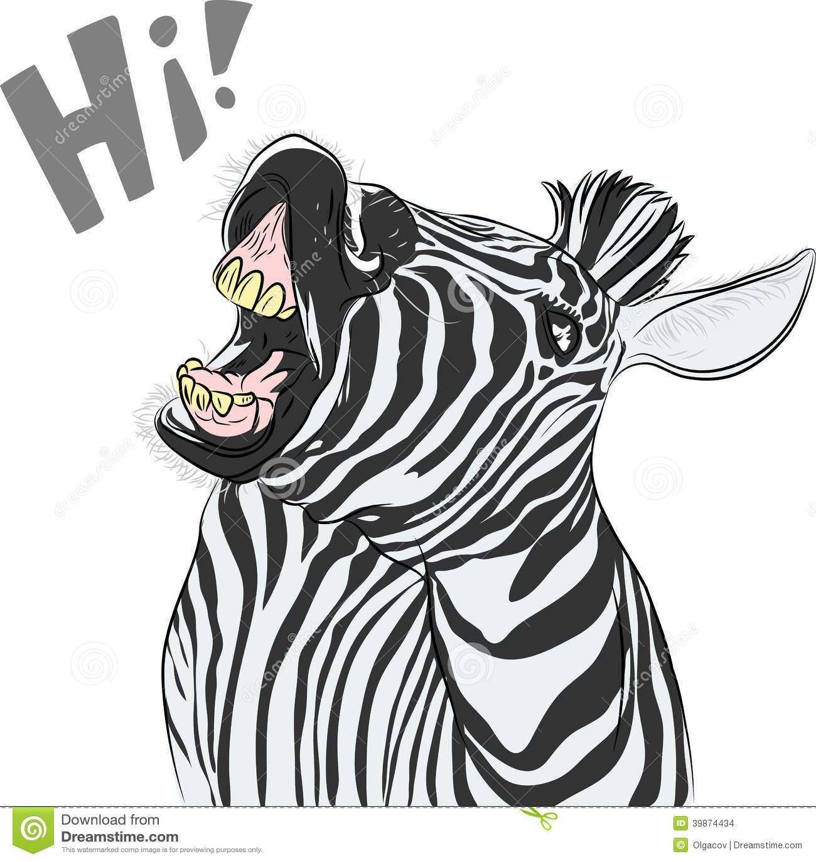 Funny cartoon zebra yells Zebra Yelling
