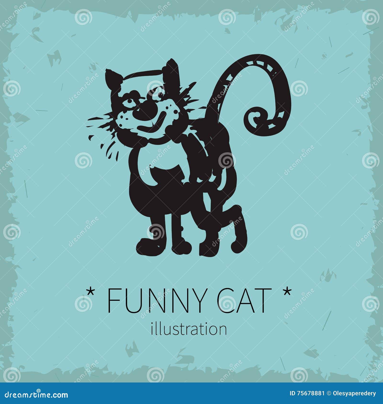 Vector funny cat illustration.