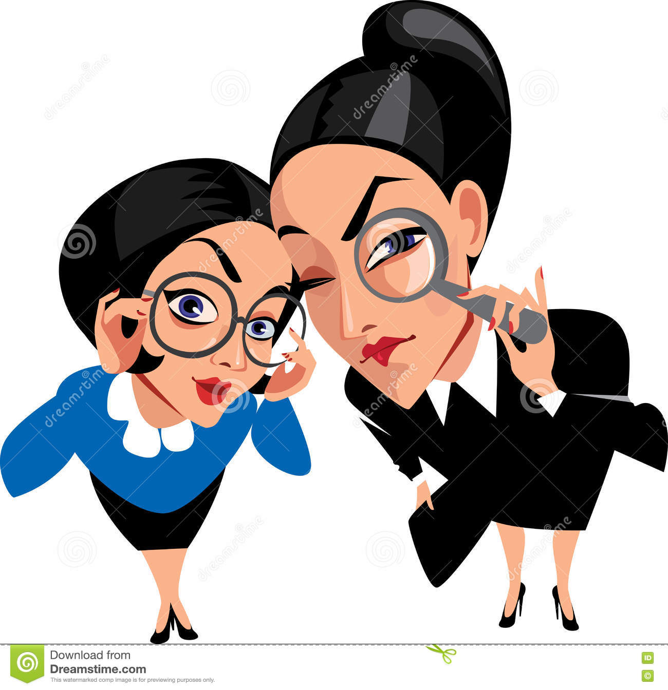 I Spy Cartoon Characters : Vector funny characters two spy ladies women curious