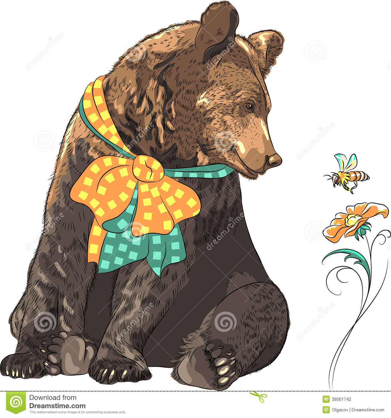 Vector Funny Hipster Bear Watching Bee Stock Vector ...