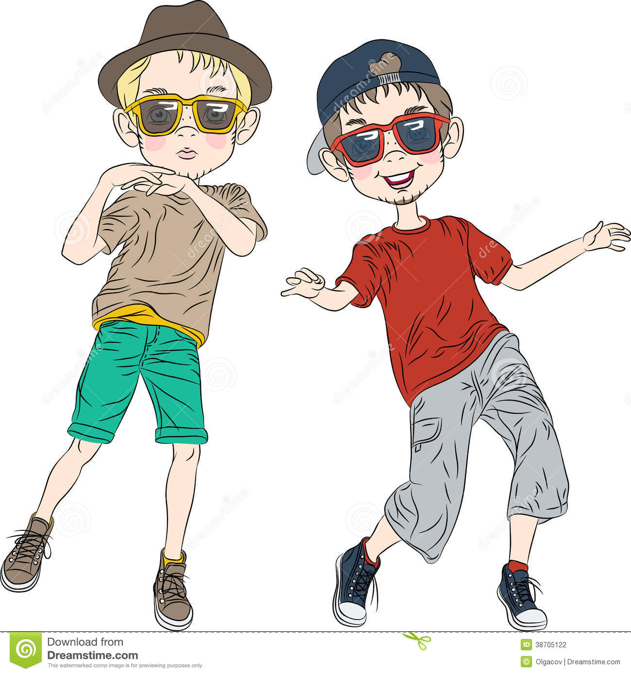 Funny Cartoon Images Of Boys vector funny hipster boys dancing stock vector