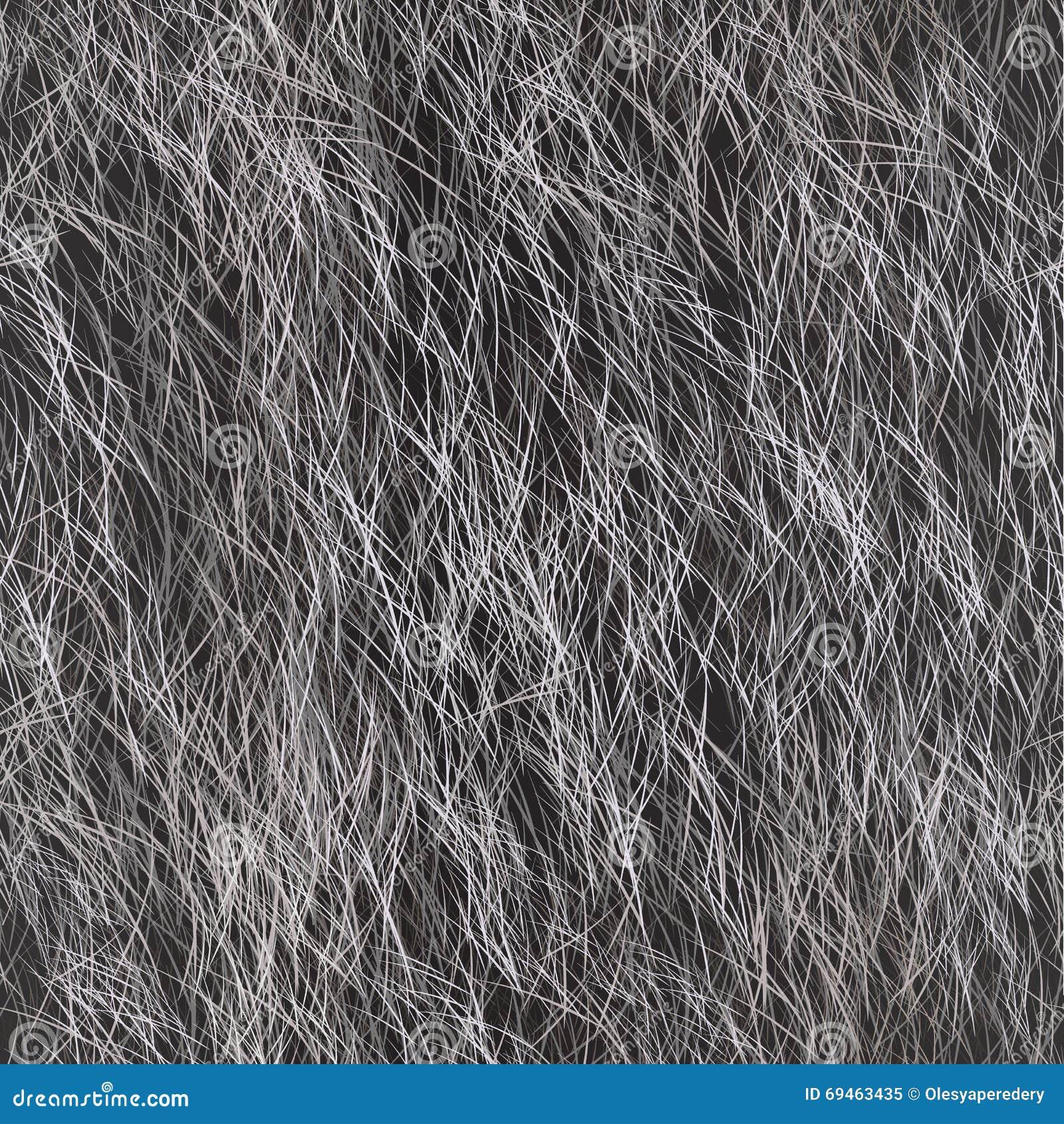 Vector Fur Seamless Pattern. Grey Background.