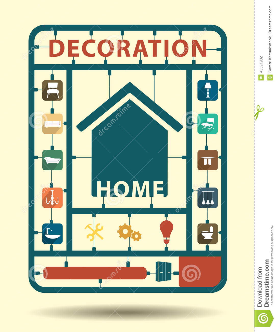 Vector Furniture Flat Icons Home Decoration Stock Vector
