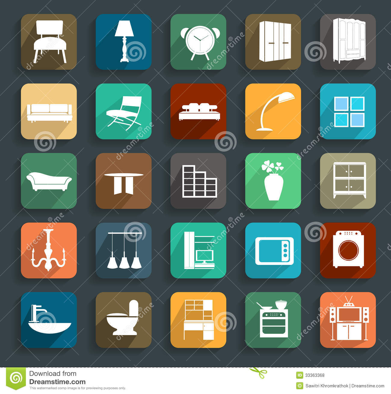 Modern Furniture Icon vector furniture flat icons royalty free stock photos - image