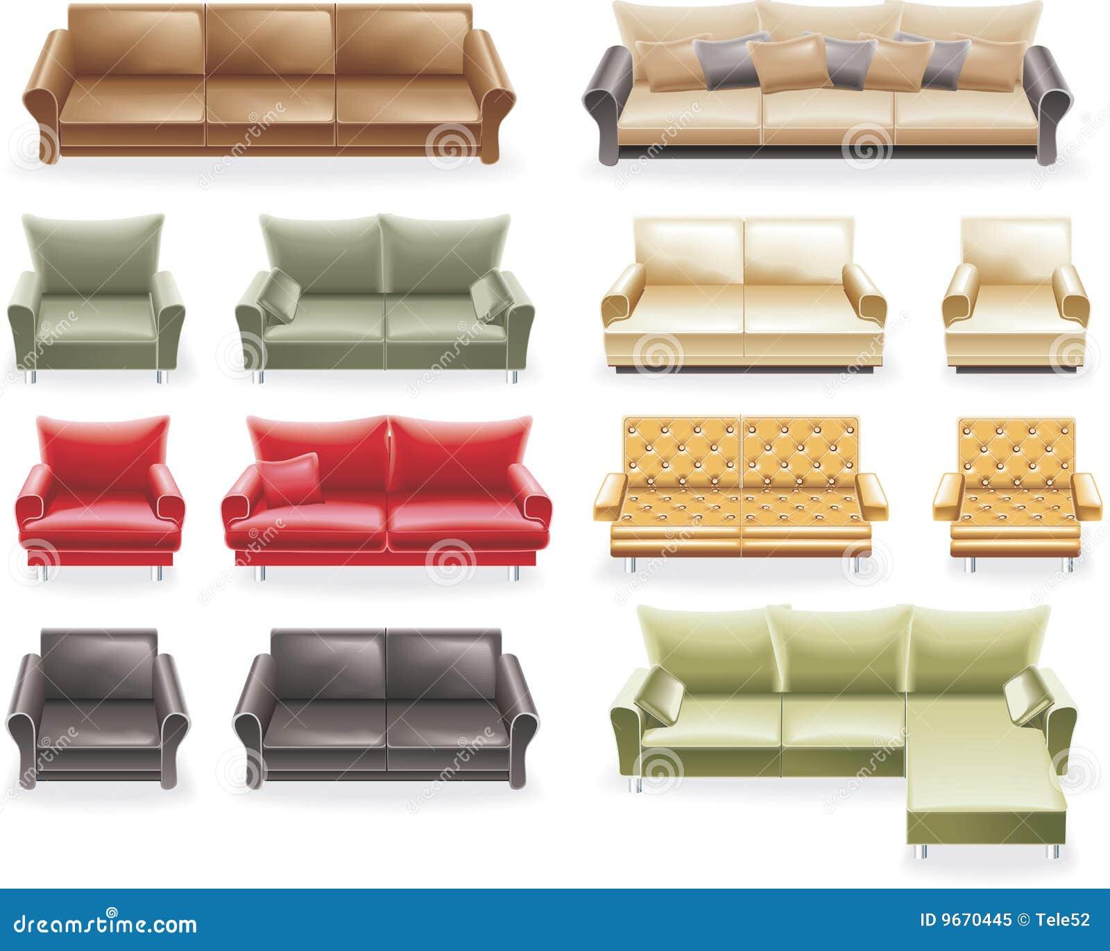 Vector Furniture Icon Set Sofas Royalty Free Stock Photo Image 9670445