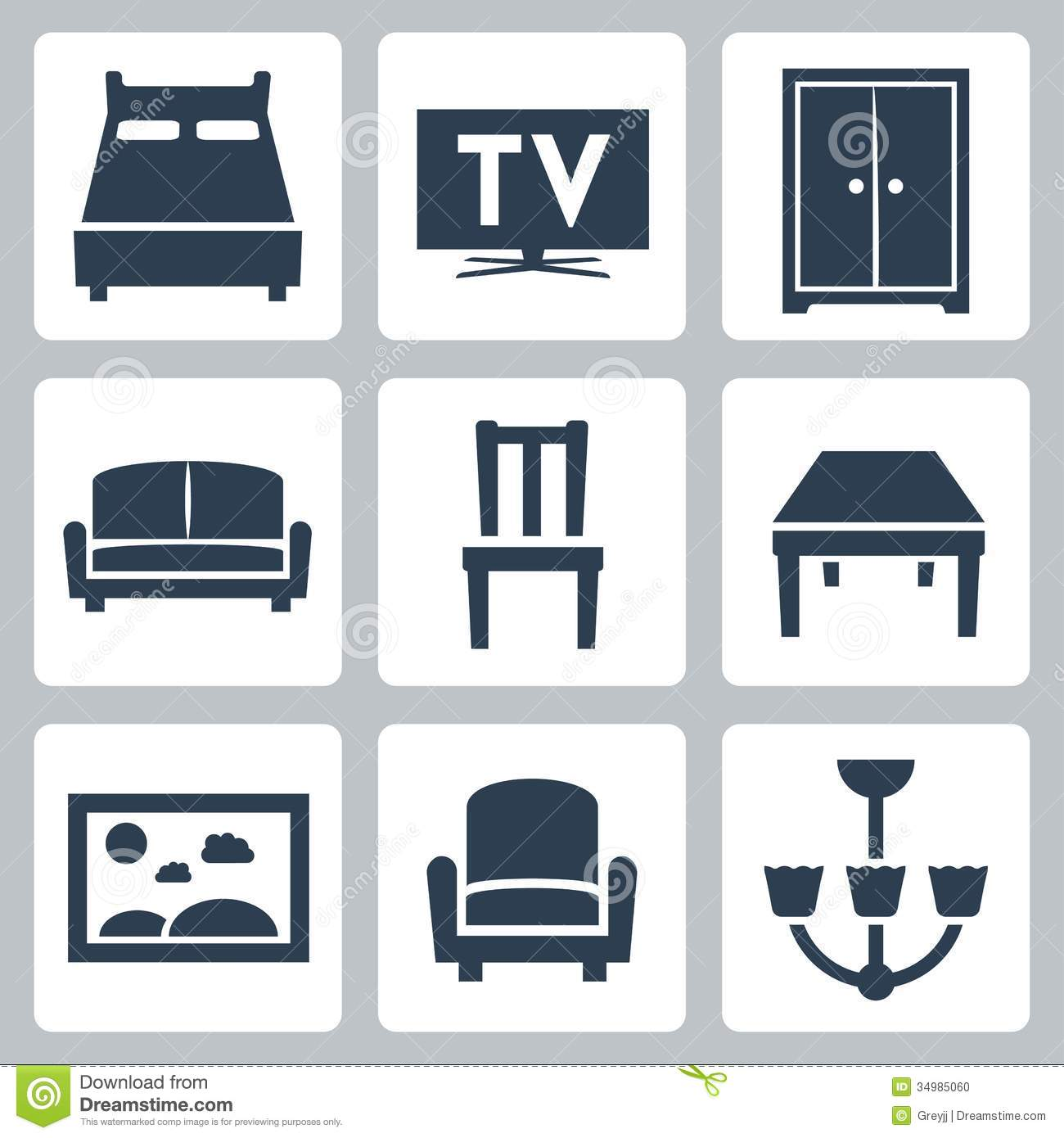 Stock Photo Vector Furniture Icons Set Image34985060 on Modern Home Interior Design Architecture