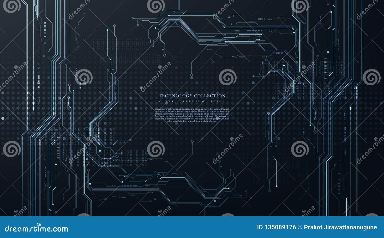 Vector futurista abstracto del fondo de la conexión del hardware del circuito de la tecnología digital