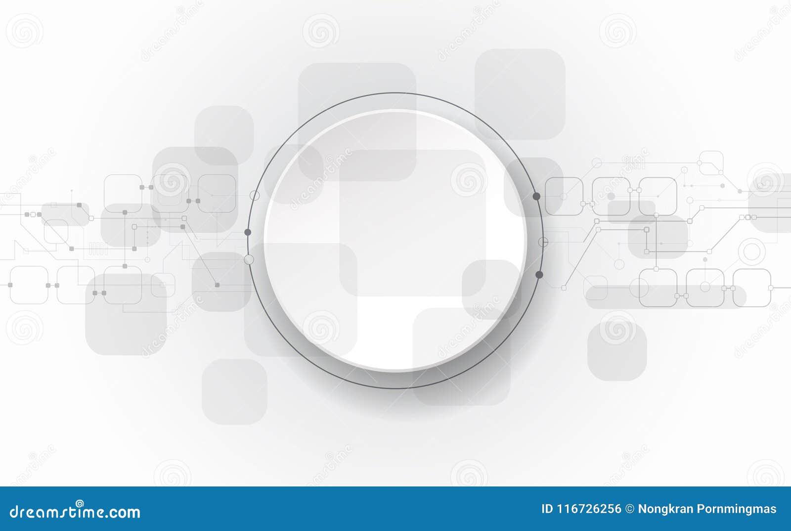 Vector futurista abstrato da ilustração, placa de circuito na luz - fundo cinzento, conceito moderno da tecnologia digital da olá