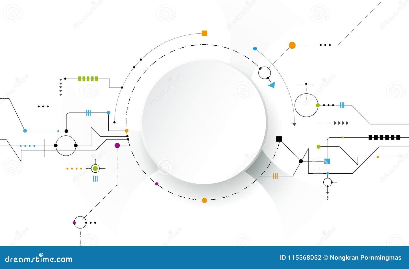 Vector futuristico astratto dell illustrazione, circuito su fondo grigio chiaro