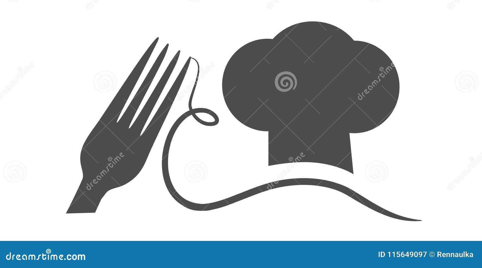 Vector Gabel mit Spaghettis und Koch ` s Hut mit einem Schnurrbart Schwarzes Symbol für Restaurantmenü