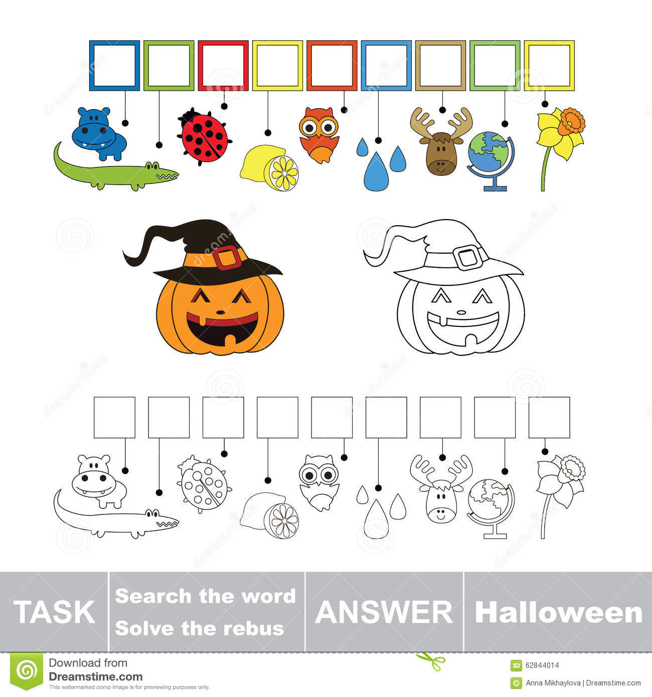 Vector Game. Find Hidden Word Halloween. Search The Word ...