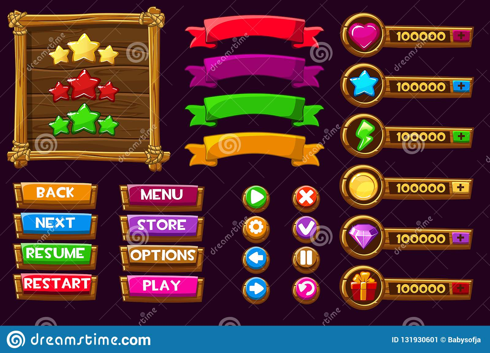 Vector game ui kit. Complete menu of graphical user interface GUI to build 2D games. Can be used in mobile or web games