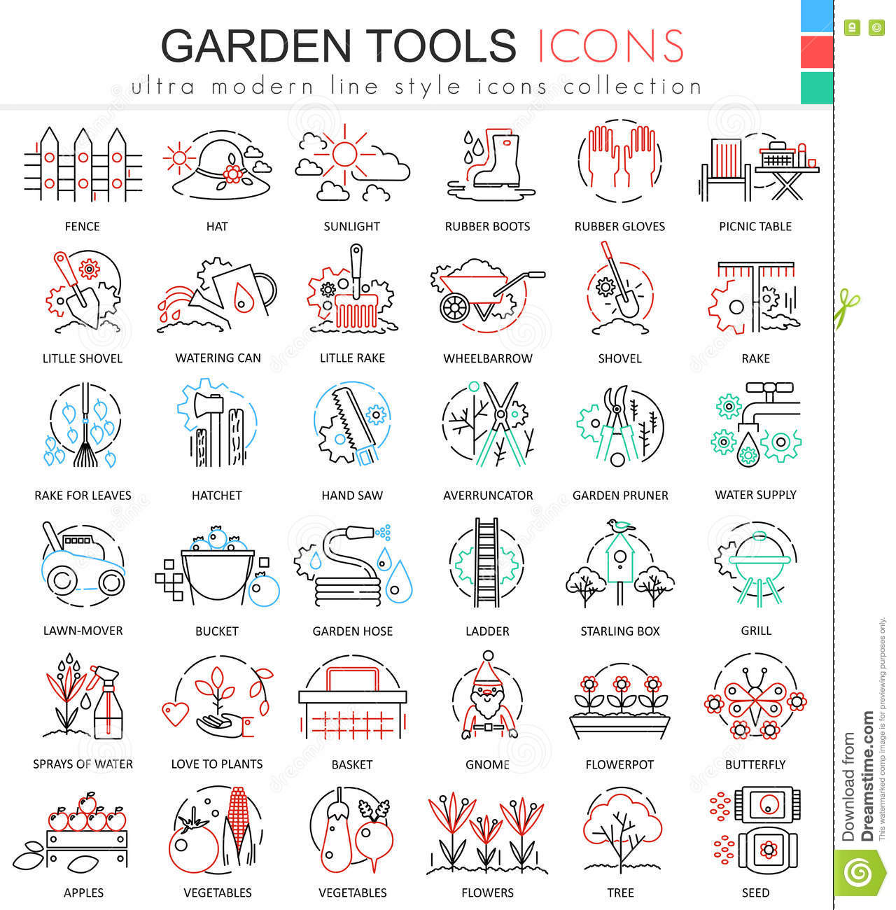 Modern colors web design - Modern Colors Web Design Vector Garden Tools Ultra Modern Color Outline Line Icons For Apps