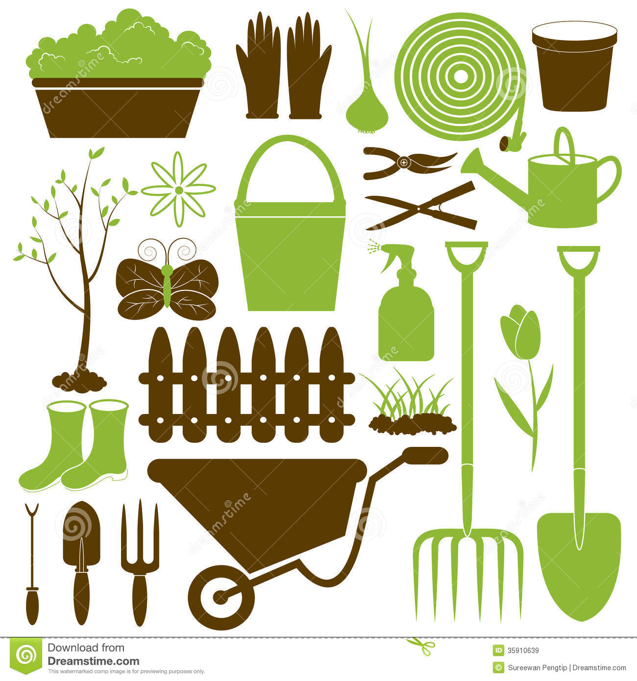 Vector gardening icons collection royalty free stock for Gardening tools vector