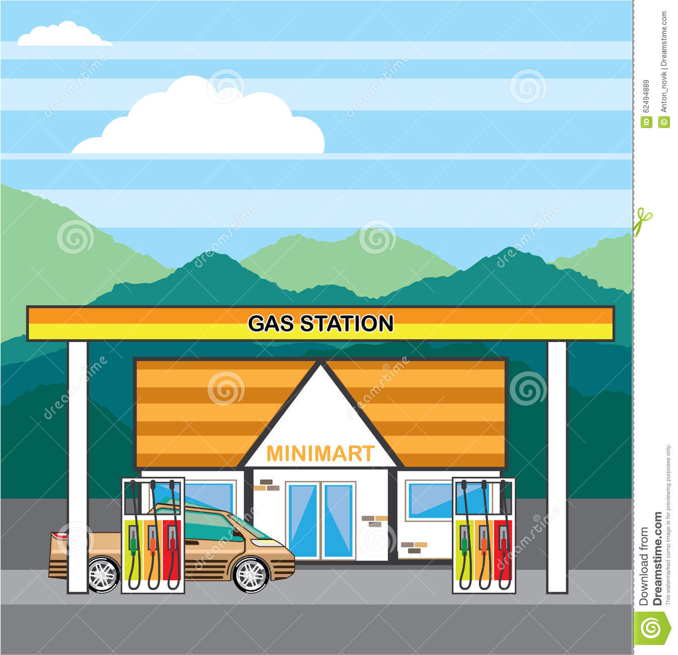 Vector Gas Station Stock Vector - Image: 62494889
