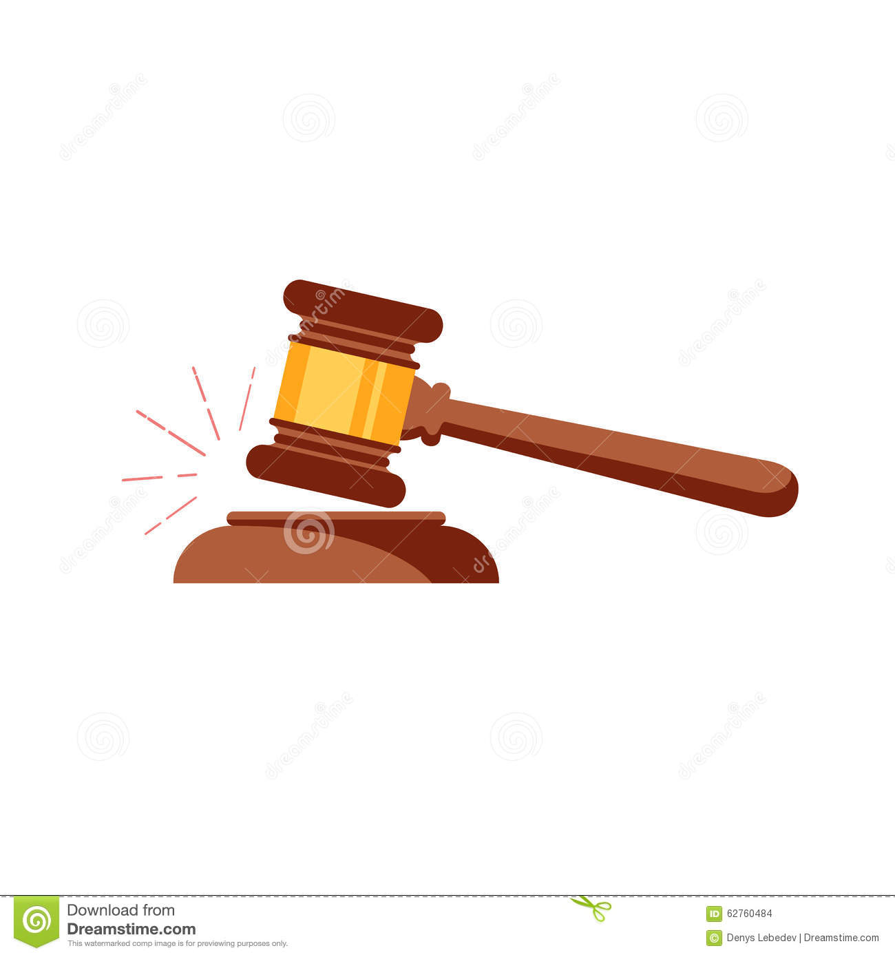 Vector Gavel Isolated Icon Stock Vector Illustration Of Judge