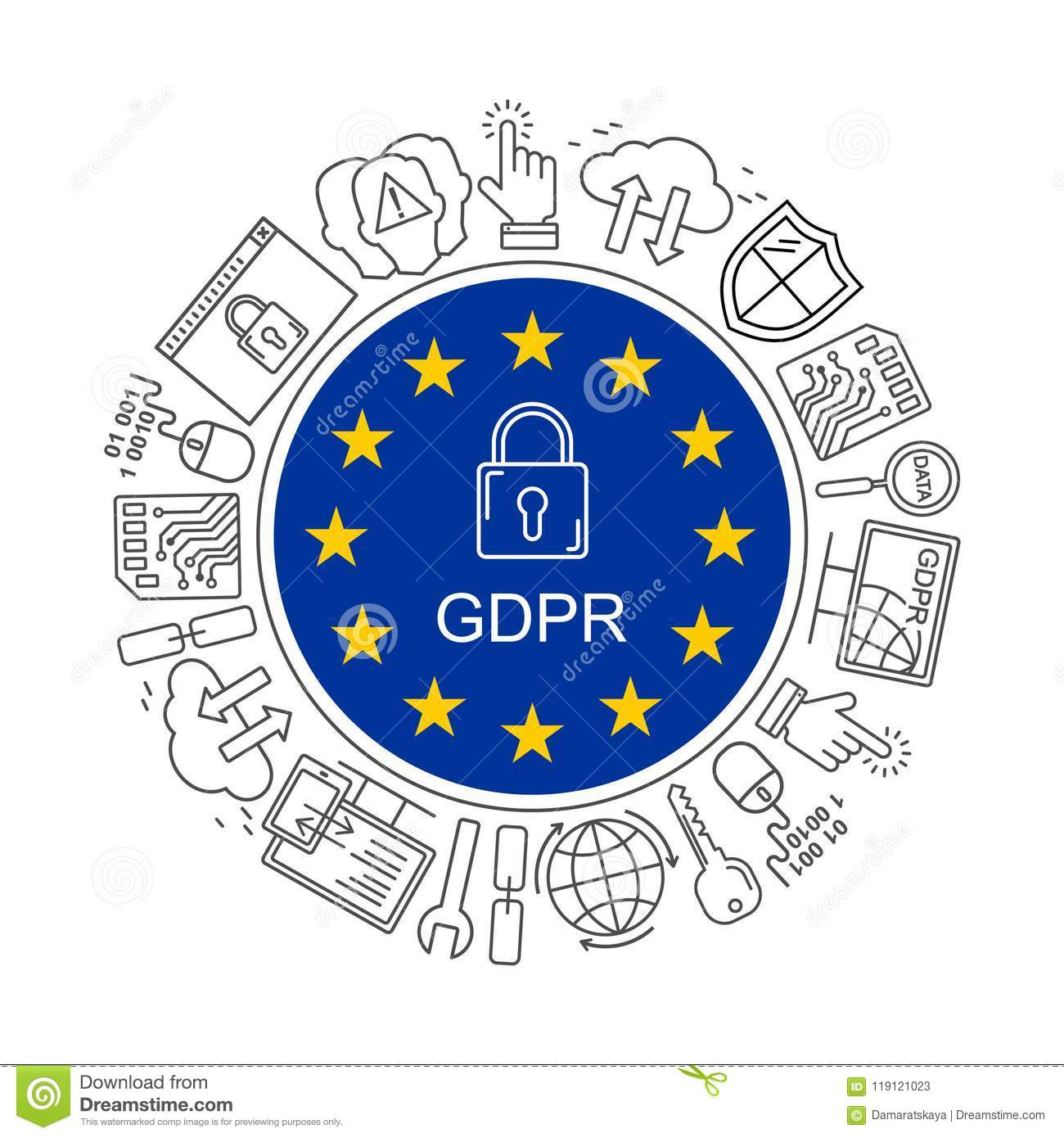 Vector Gdpr General Data Protection Regulation Pattern With Line Privacy Security Style Icons Web And