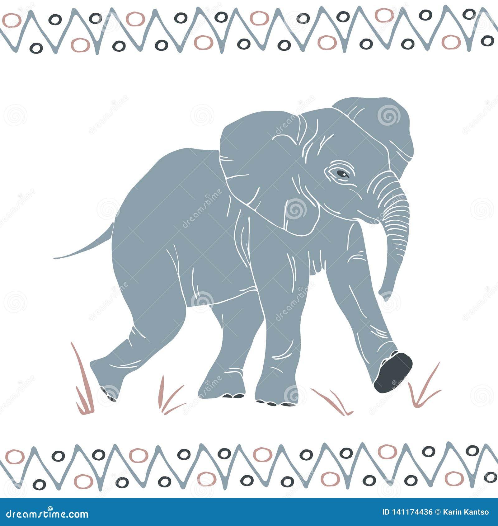 Vector geïsoleerd het lopen olifantspatroon