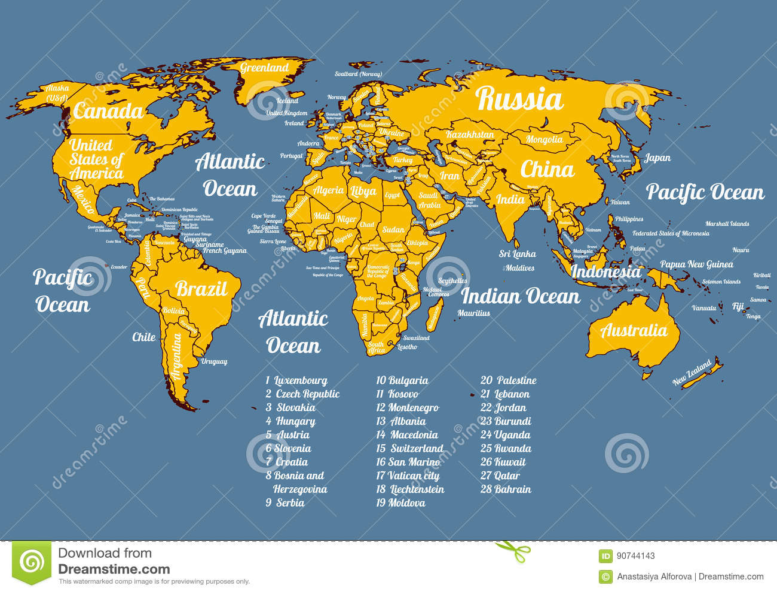 Vector Gehele Wereld Politieke Kaart Vector Illustratie