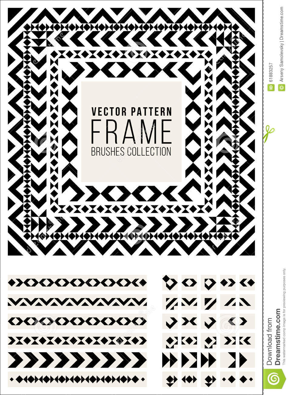 Vector Geometric Decorative Frame Triangle Rhombus Lines Pattern ...