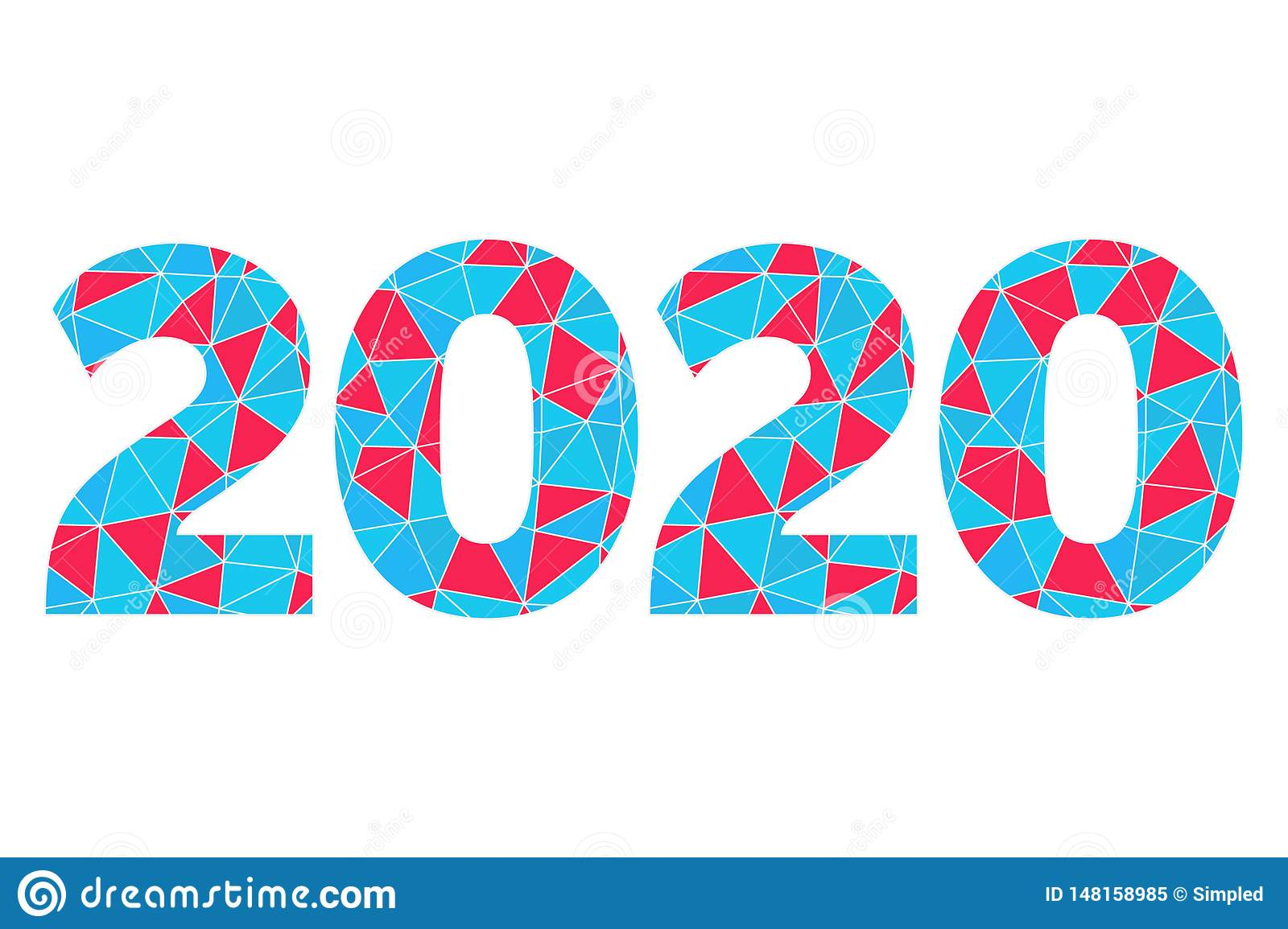 2020 vector geometric icon. Happy New Year abstract illustration for decoration, celebration, winter holiday, infographic