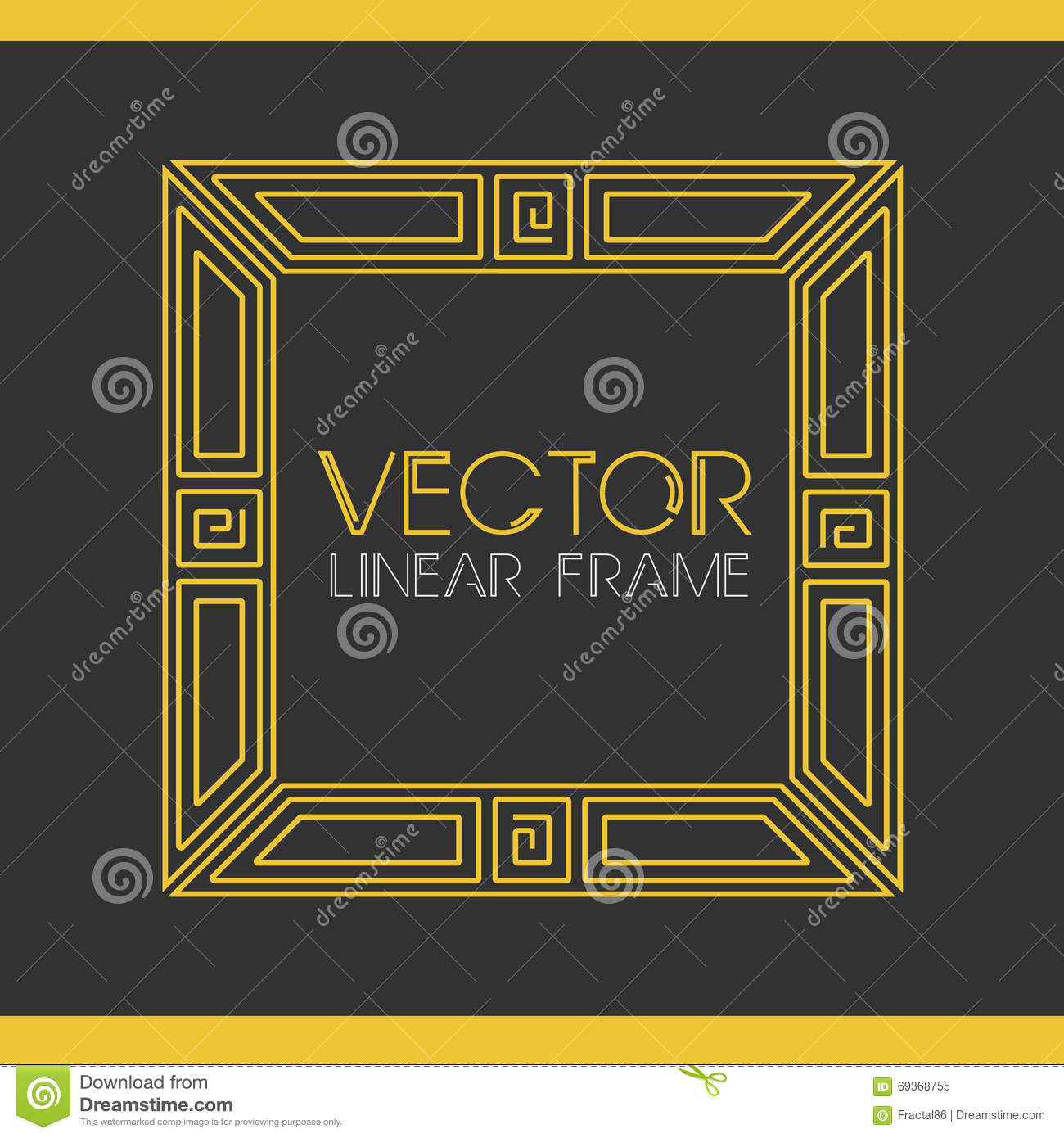 Vector geometric linear style frame art deco text for A style text decoration