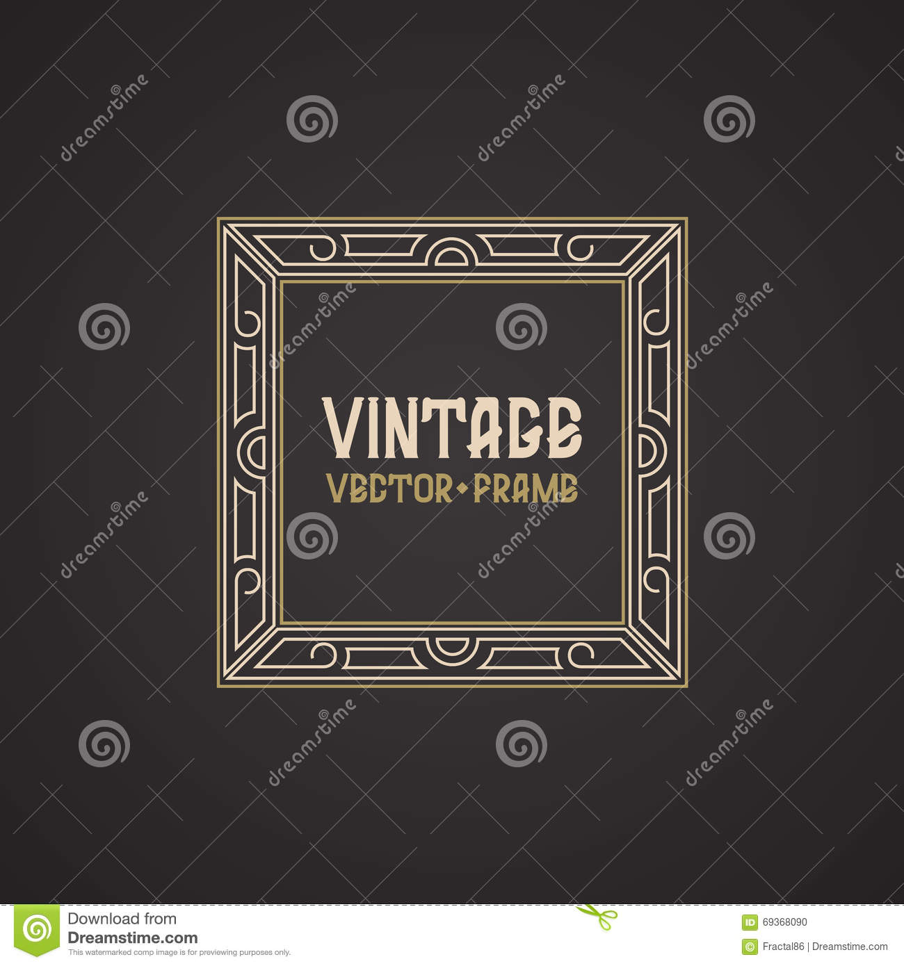 Vector geometric linear style frame vintage text for A style text decoration