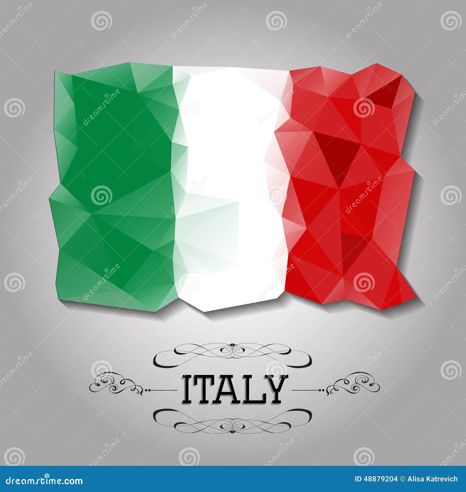 Vector geometric polygonal italy flag stock vector for Italy design