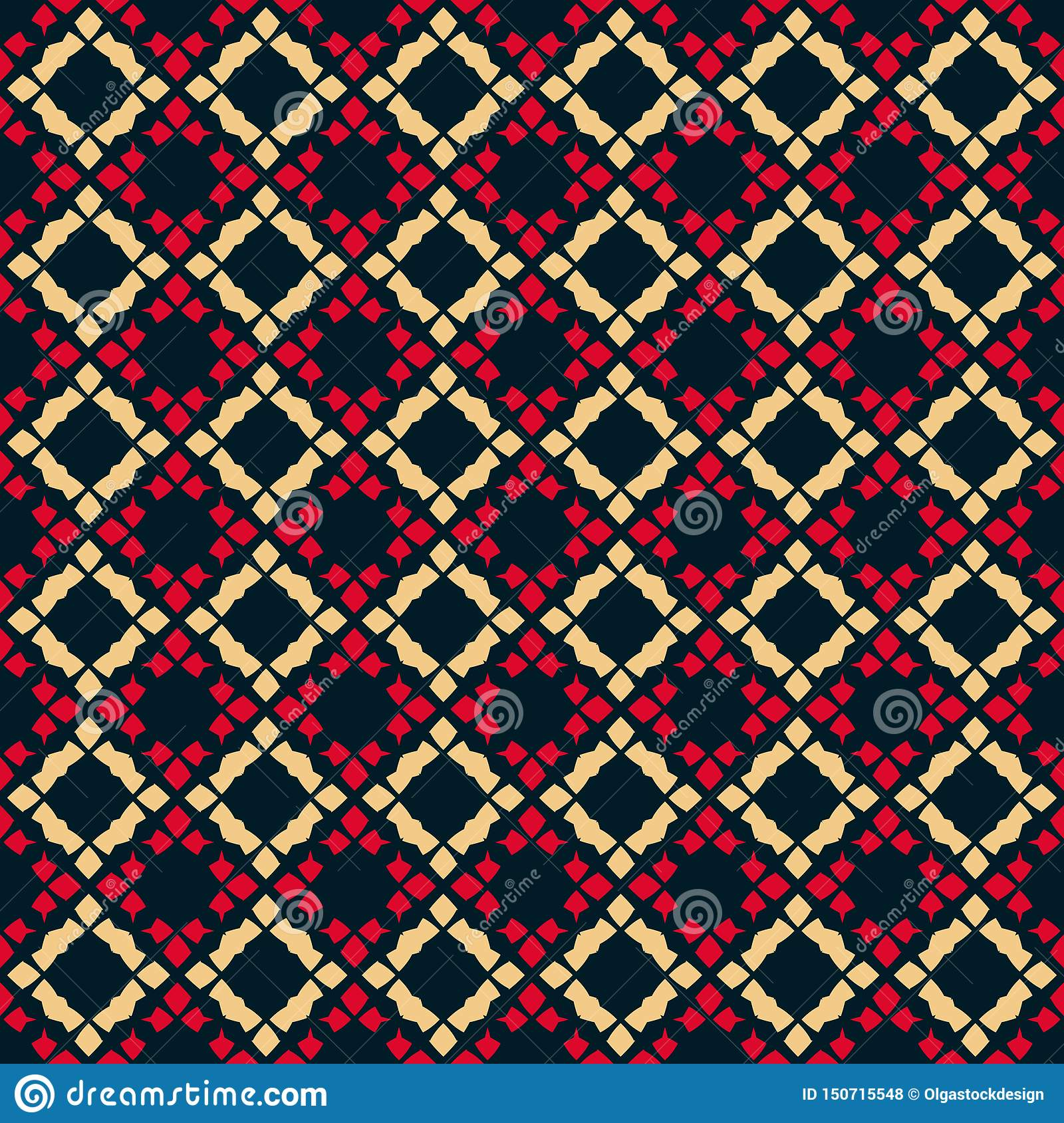 Vector geometric seamless pattern. Folk ornament. Black, red and yellow colors