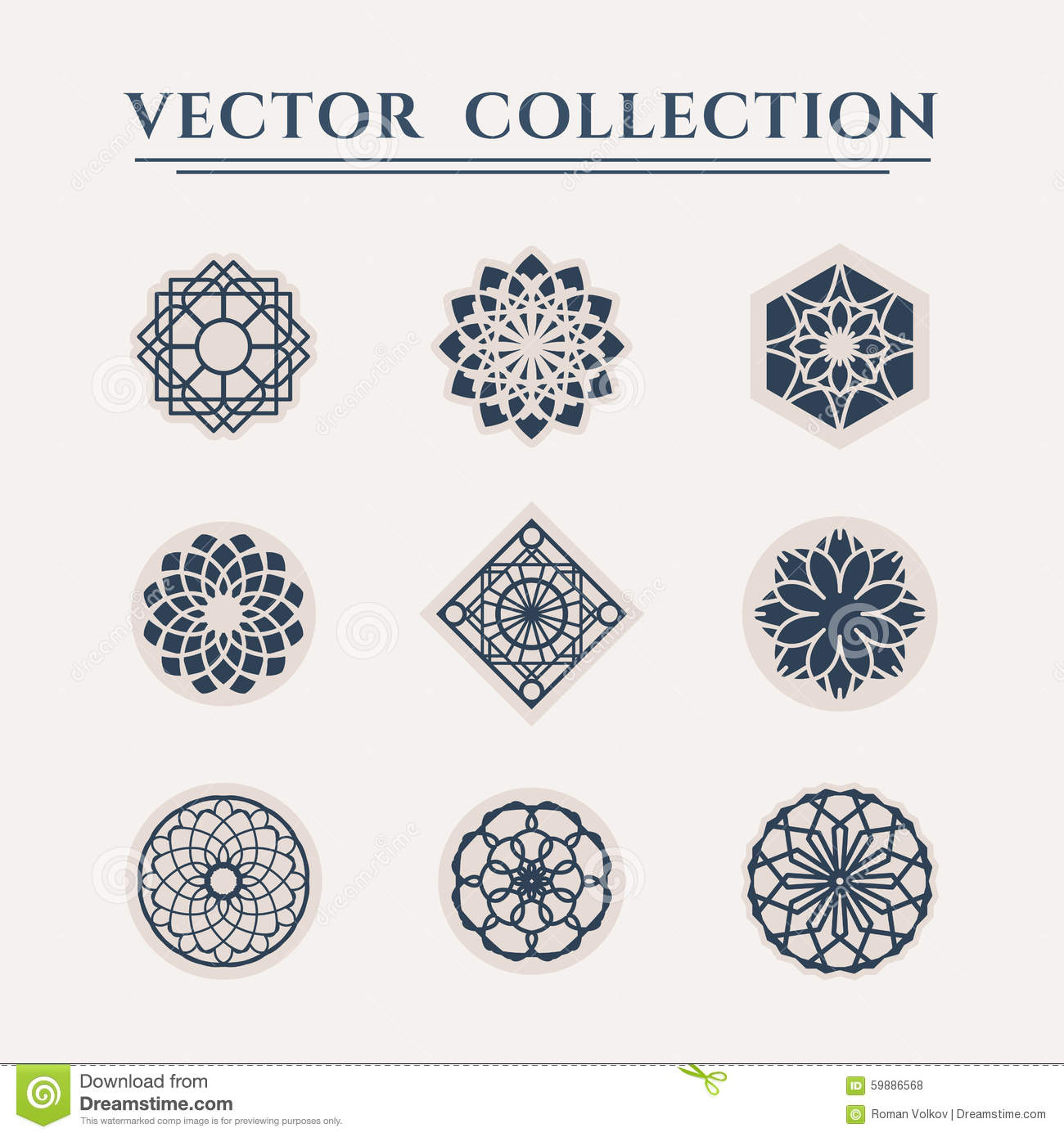 Ornamental logo templates set. Vector arabic geometric symbols.