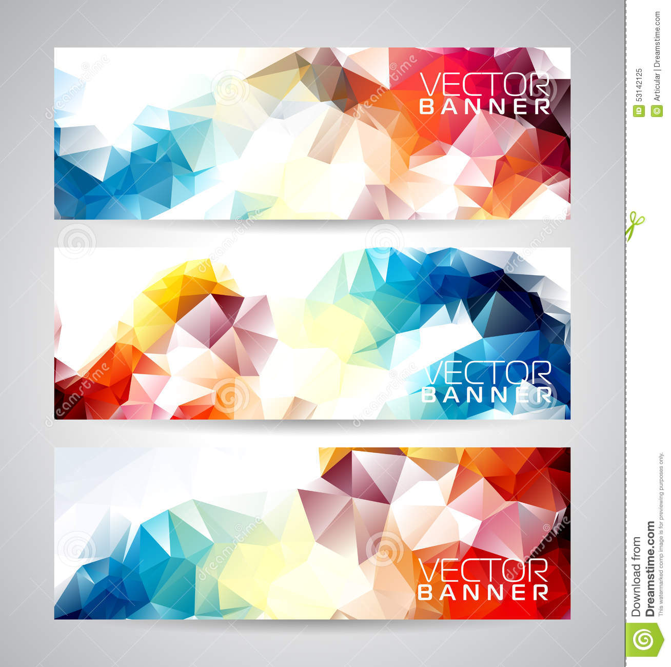 vector geometric triangles banner background set  stock vector