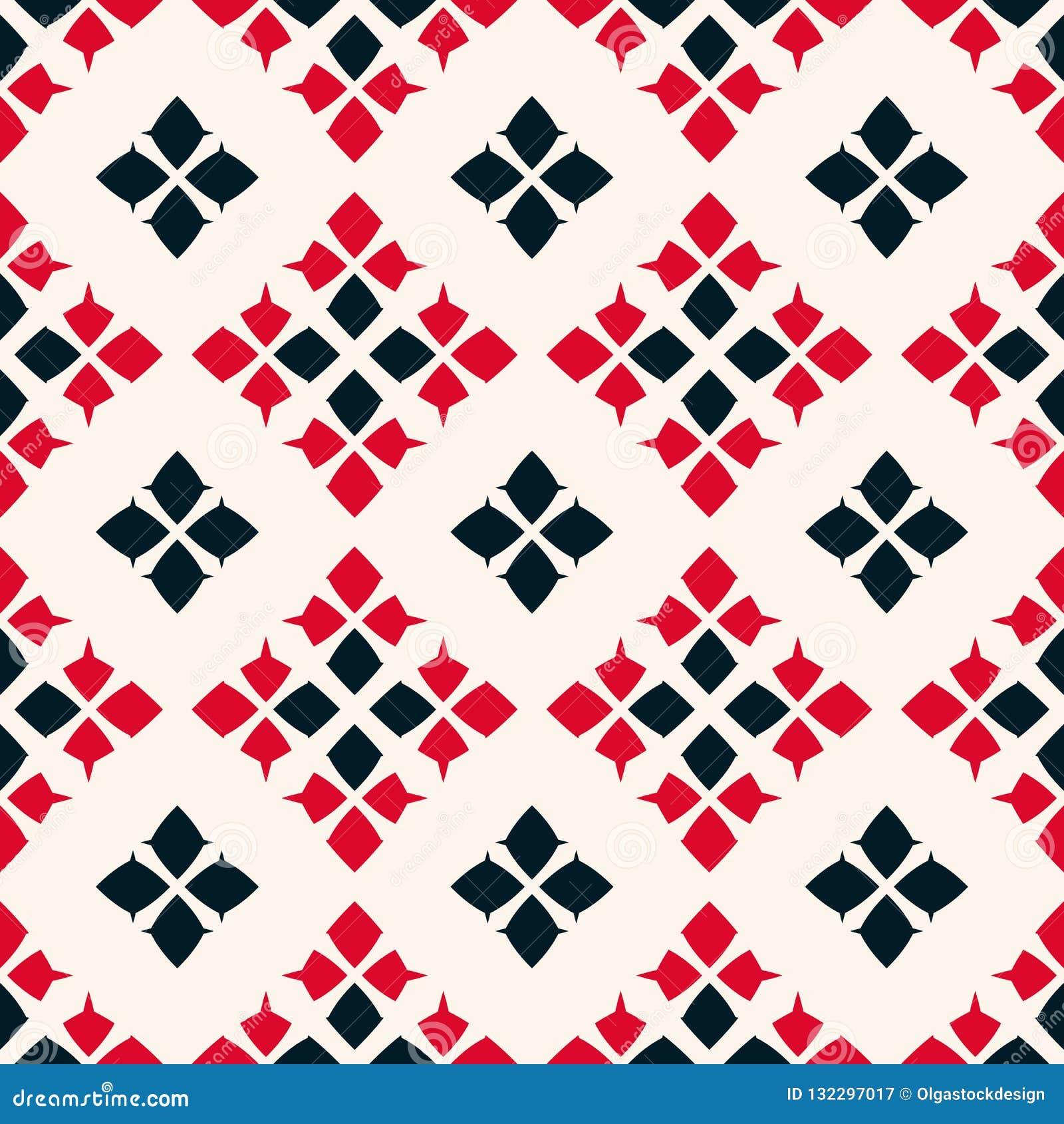 Vector geometrisch naadloos patroon Volksornament Rode, zwart-witte kleuren