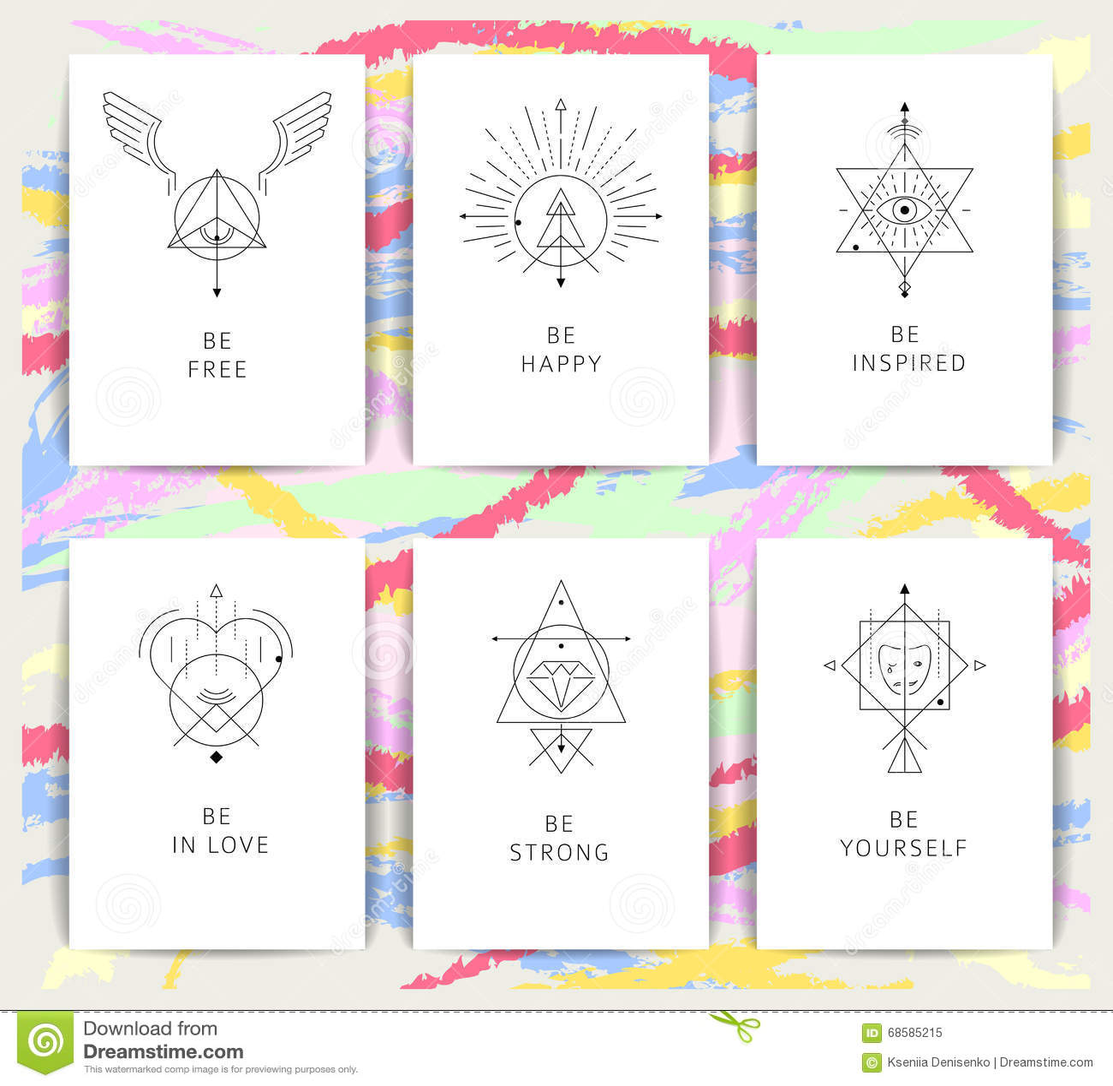 Vector geometrische alchimiesymbolen met geïnspireerde uitdrukkingen