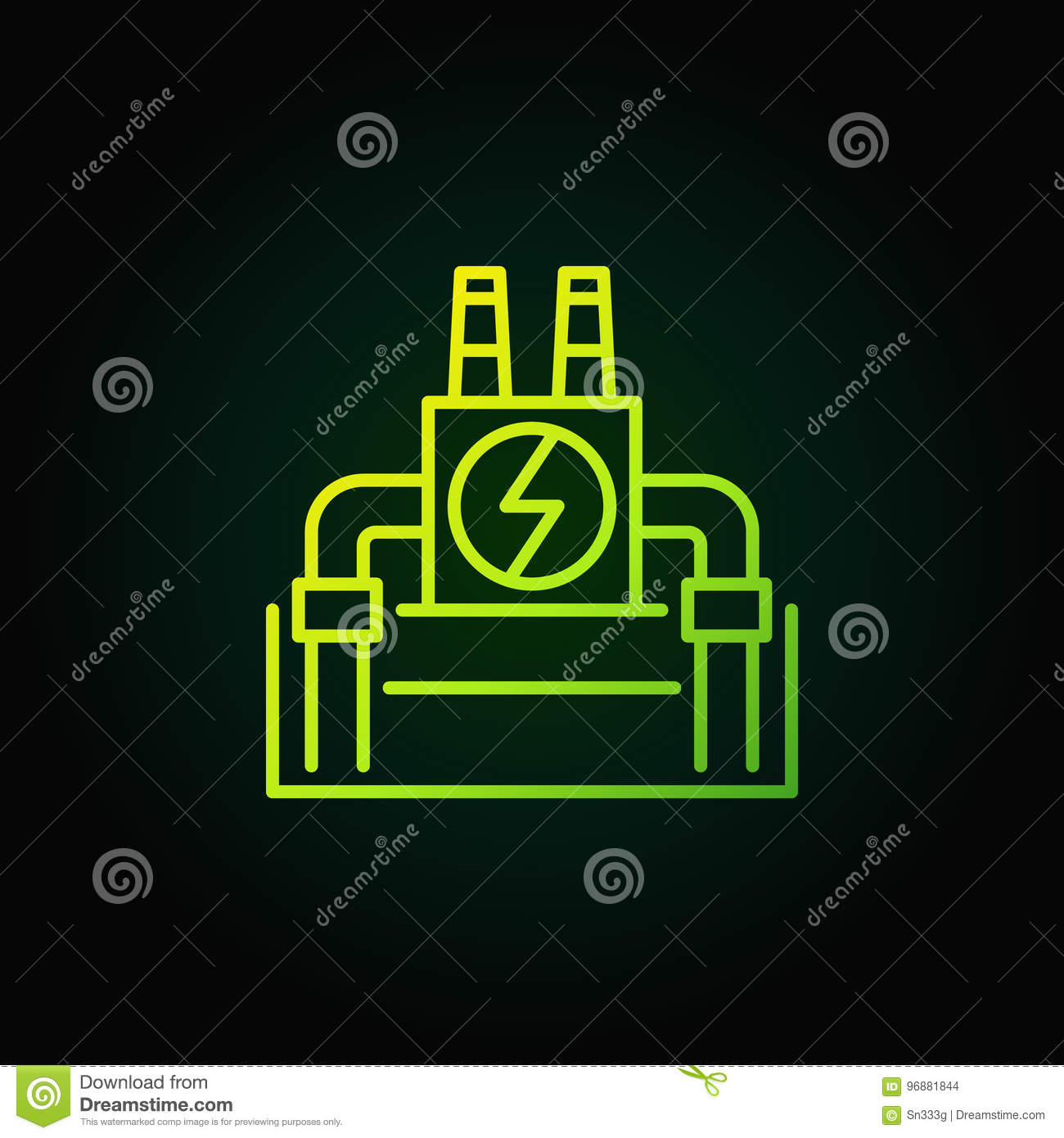 Vector Geothermal Power Plant Green Icon Stock Illustration Diagram Download Of Generator Ecology