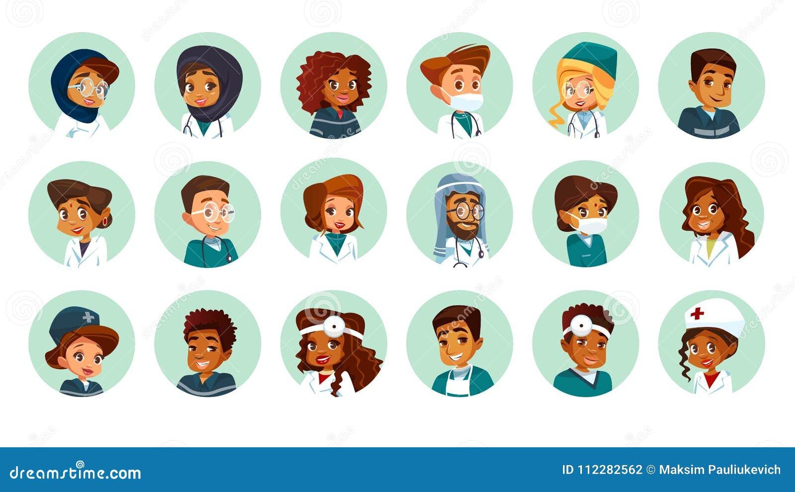 Vector geplaatst beeldverhaal multinationale medische avatars