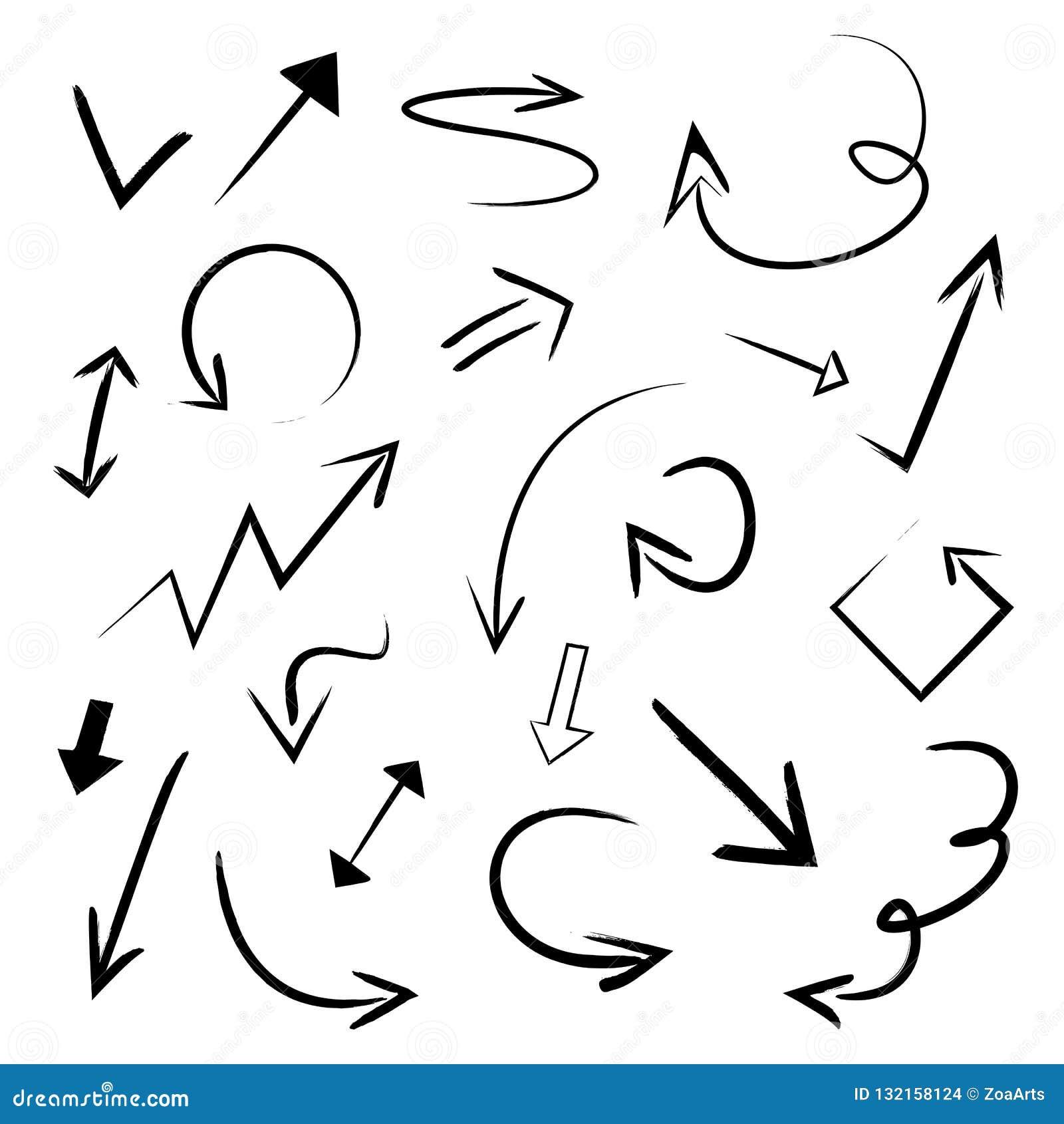 Vector Geplaatste Illustratiehand Getrokken Pijlen Inzameling van Grunge-de Pijlart. van de Schets Met de hand gemaakt Krabbel