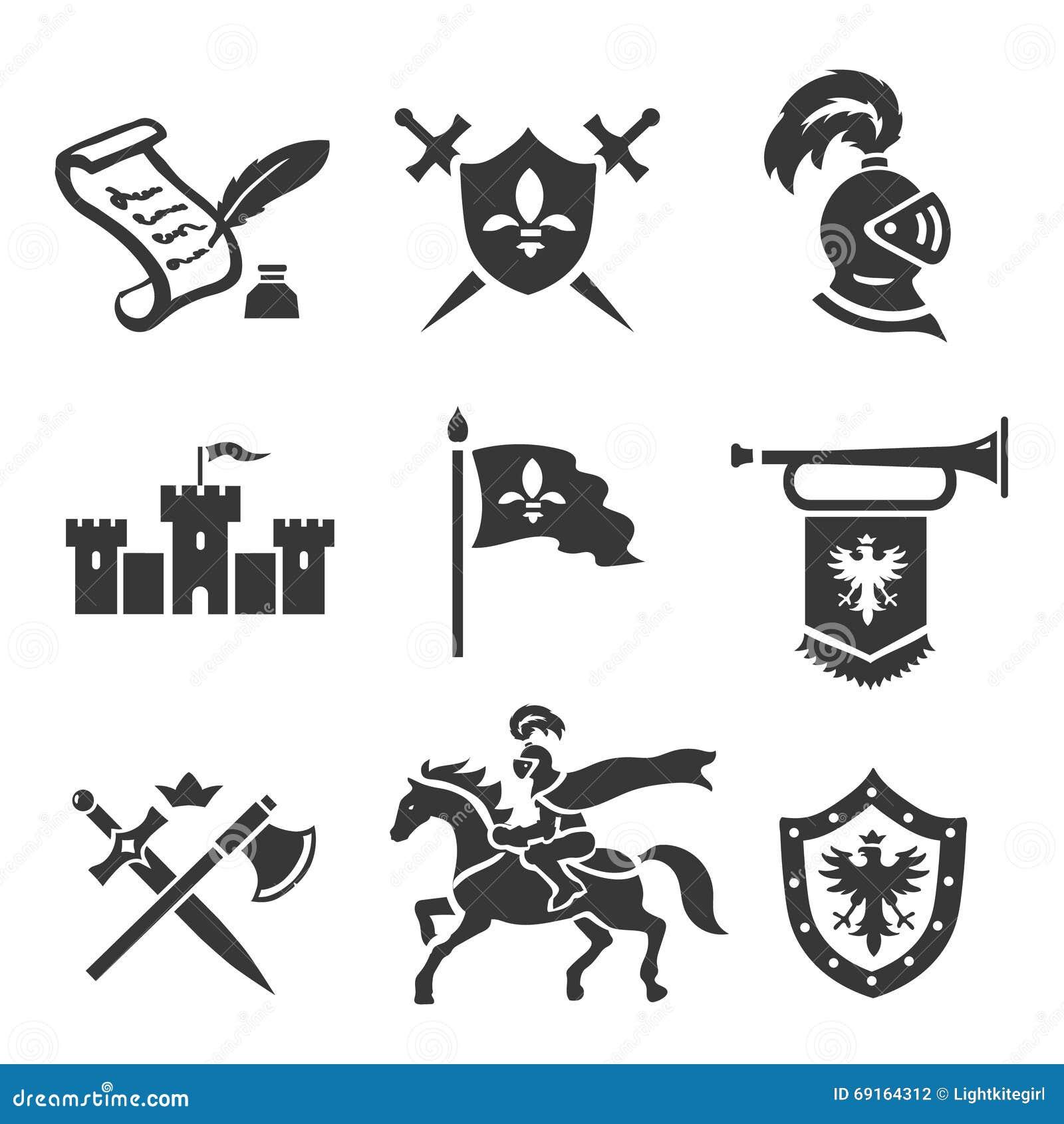 Vector geplaatste pictogrammen van de ridder de middeleeuwse geschiedenis De wapens van de middenleeftijdenstrijder