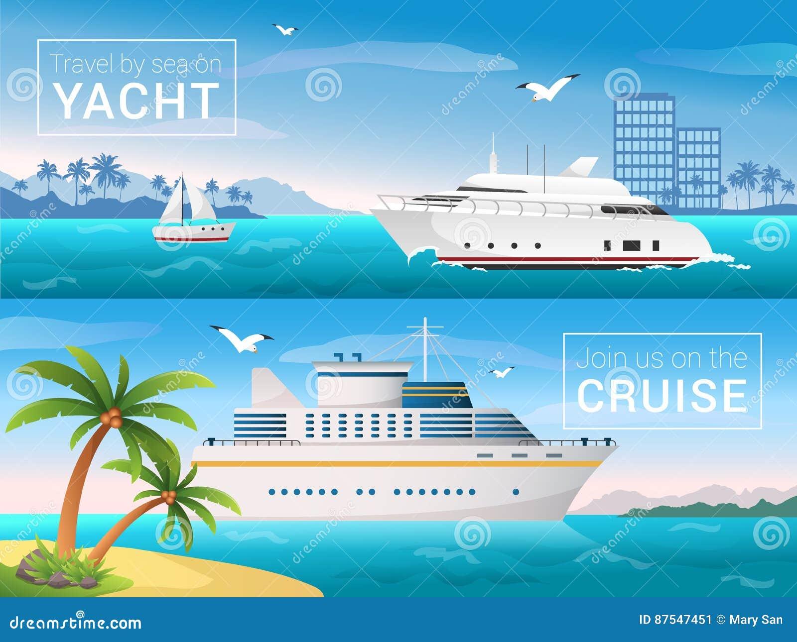 Vector geplaatste reisbanners Jacht in de baai van tropisch eiland, oceaan overzeese cruisevoering in de eilanden
