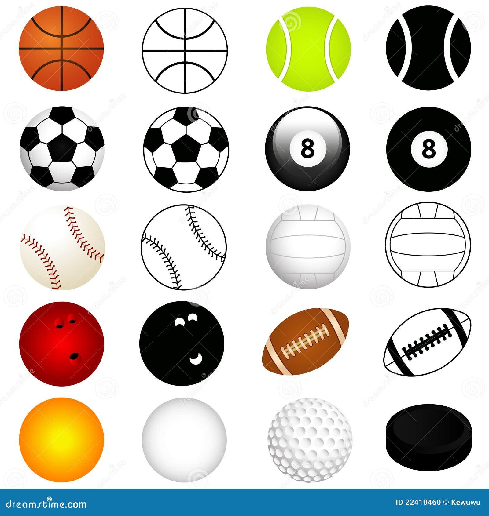 vector geplaatste sporten ballen in kleur en silhouet vector illustratie afbeelding 22410460. Black Bedroom Furniture Sets. Home Design Ideas