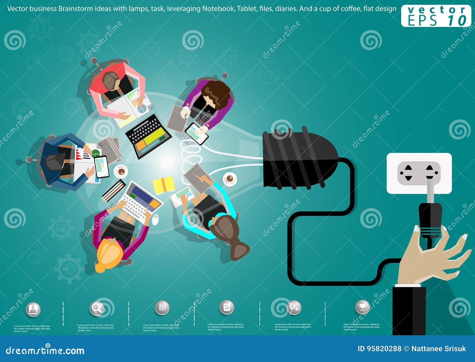 Vector Geschäft Geistesblitzideen mit Lampen, Aufgabe, wirksam einsetzendes Notizbuch, Tablet, Dateien, Tagebücher Und ein Tasse