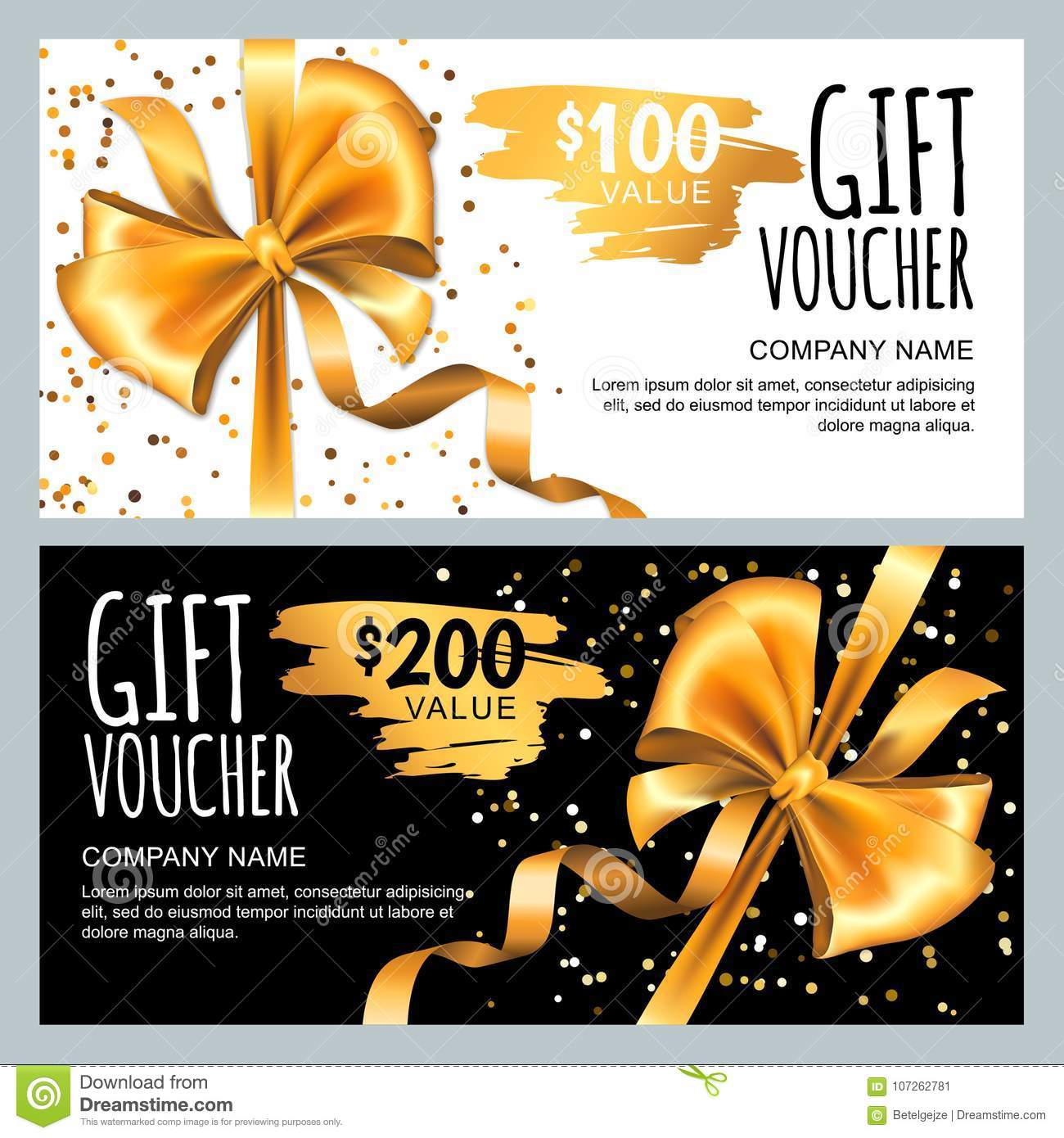 vector gift card or voucher template with gold bow ribbon  luxury design for vip gift coupon
