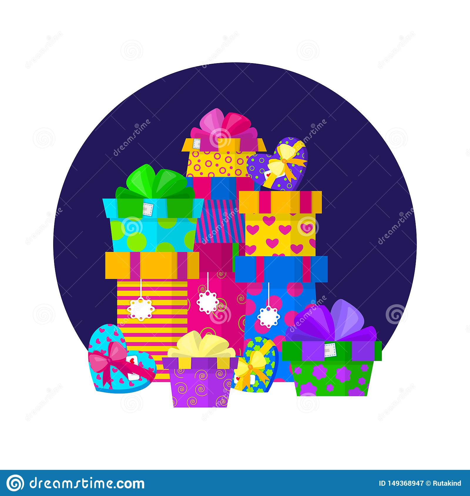 Vector gift pile design in flat style