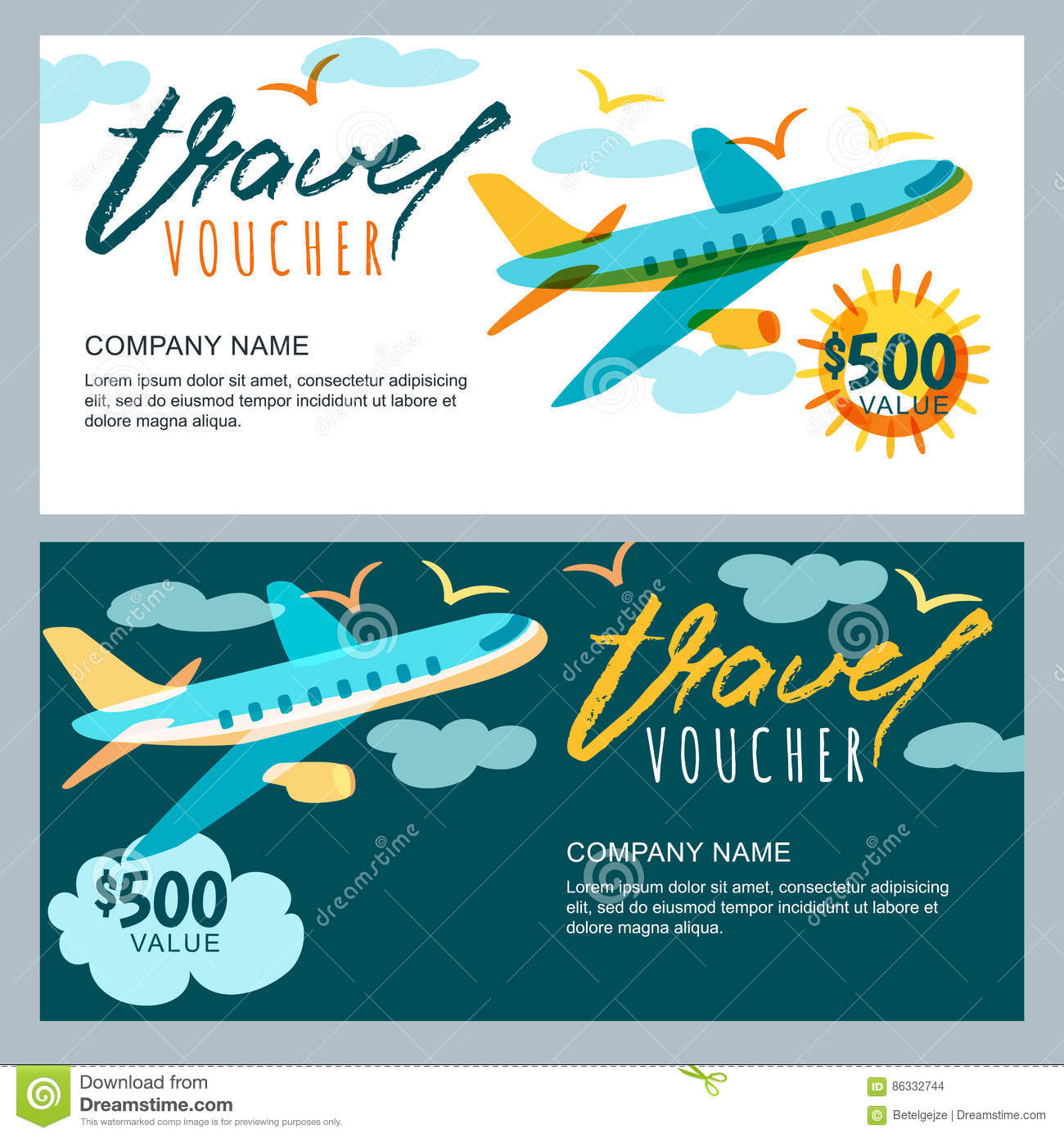 Vector Gift Travel Voucher Multicolor Airplane In The Sky Coupon