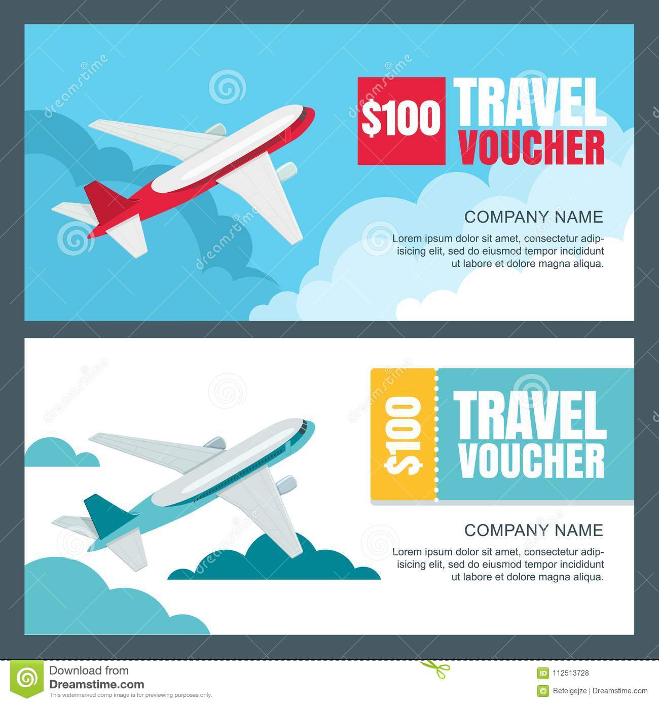 Vector Gift Travel Voucher Template Flying Airplane In The Sky