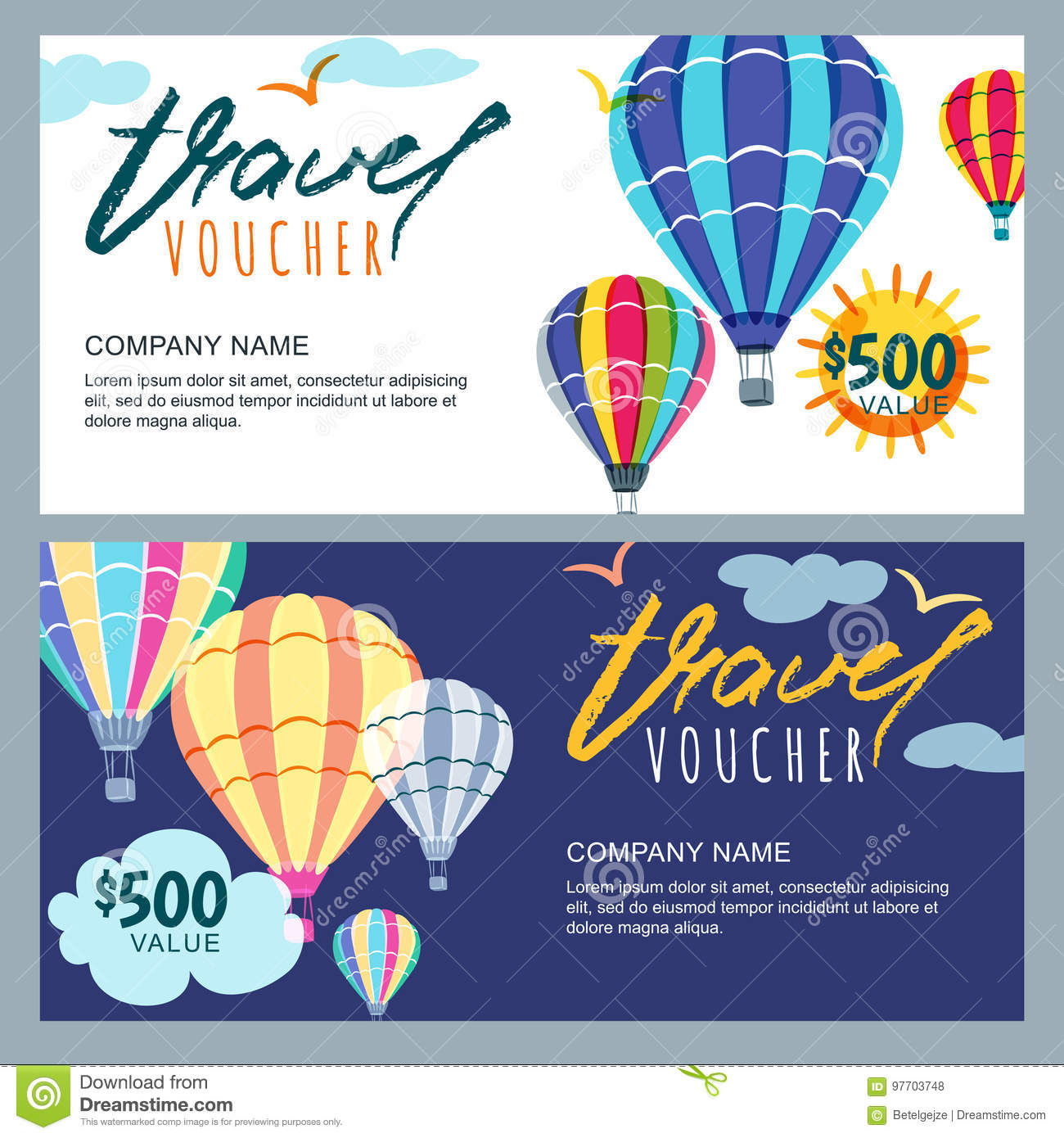 Vector Gift Travel Voucher Template Multicolor Hot Air Balloons In